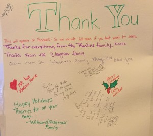 Thank you signed by families
