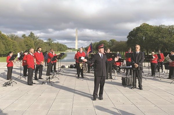 National Capital Army walks, witnesses on Mall in Washington